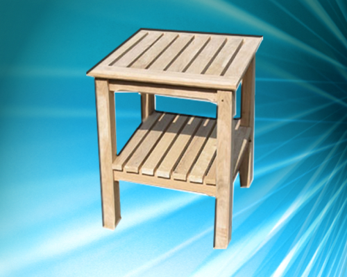 Square morticed table with shelf