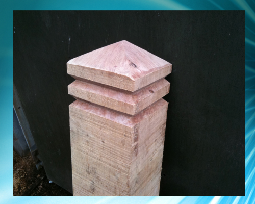 Diamond topped double grooved  8x8inch (20x20cm) bollard - up to 4ft (1.2m)