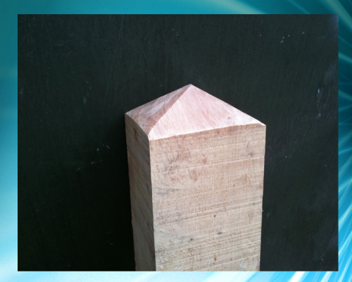 Diamond topped 6x6inch (15x15cm) bollard - up to 4ft (1.2m)