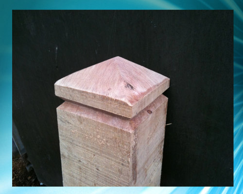 Diamond topped single grooved  4x4inch (10x10cm) bollard - up to 4ft (1.2m)
